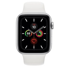 Apple Watch Series 5 GPS 44mm Silver Aluminum w. White b.- Silver Aluminum (MWVD2)